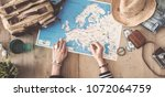 travel concept on wooden... | Shutterstock . vector #1072064759