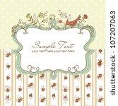 vector floral frame with a bird | Shutterstock .eps vector #107207063