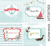 set of 4 nautical cards | Shutterstock .eps vector #107207303