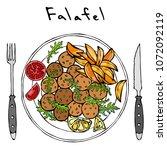 falafel  arugula herb leaves ... | Shutterstock .eps vector #1072092119