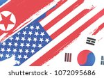 flags of usa  south korea and... | Shutterstock .eps vector #1072095686