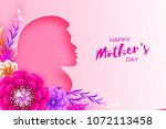 silhouette of a mother in paper ... | Shutterstock .eps vector #1072113458