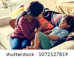 mom is pointing and blaming her ... | Shutterstock . vector #1072127819