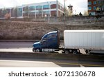 modern big rig dark blue semi... | Shutterstock . vector #1072130678
