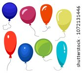 set of eight colorful balloons... | Shutterstock .eps vector #1072131446