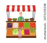 vegetable market on a white...   Shutterstock .eps vector #1072135238