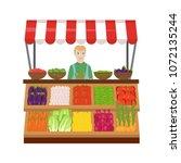 vegetable market on a white...   Shutterstock .eps vector #1072135244