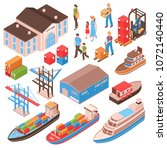 sea port isometric set with...   Shutterstock .eps vector #1072140440