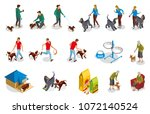 Stock vector ordinary life of dog and owner isometric icons with pet training walking and feeding isolated 1072140524