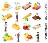 set of isometric icons organic...   Shutterstock .eps vector #1072140548
