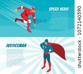 fantastic superheroes in bright ... | Shutterstock .eps vector #1072140590