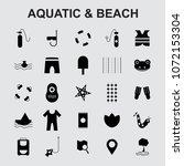 aquatic beach icons set vector    Shutterstock .eps vector #1072153304