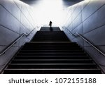 silhouette of senior man with a ... | Shutterstock . vector #1072155188