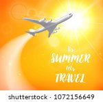realistic poster white airplane ... | Shutterstock . vector #1072156649