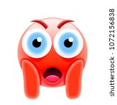 red face screaming in fear... | Shutterstock .eps vector #1072156838