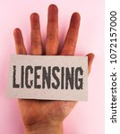 Small photo of Conceptual hand writing showing Licensing. Business photo text Grant a license Legally permit the use of something Allow activity written Cardboard Piece placed the Hand plain background.