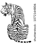 Tiger sit down and look back design for tribal tattoo vector with white background