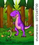 tyrannosaurus on the background ... | Shutterstock .eps vector #1072165730
