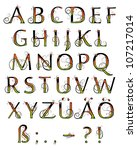 bright floral alphabet | Shutterstock .eps vector #107217014