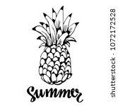 pineapple icon  logo. hand... | Shutterstock .eps vector #1072172528