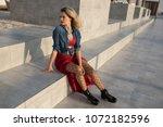 beautiful woman in a red dress... | Shutterstock . vector #1072182596