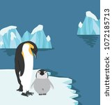 emperor penguins with chick on... | Shutterstock .eps vector #1072185713