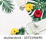 summer concept  flat lay... | Shutterstock . vector #1072190690