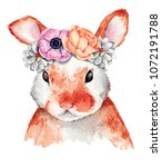 watercolor rabbit portrait with ... | Shutterstock . vector #1072191788