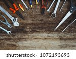 labor day. construction tools... | Shutterstock . vector #1072193693