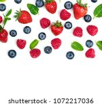 berry pattern. fresh berries... | Shutterstock . vector #1072217036