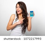 happy smiling beautiful makeup... | Shutterstock . vector #1072217993