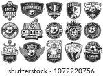 set of soccer emblems in... | Shutterstock .eps vector #1072220756