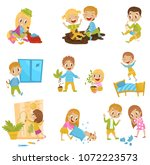 cute little bully kids set ... | Shutterstock .eps vector #1072223573