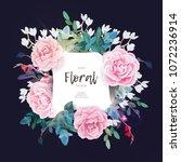 vector square botanical frame... | Shutterstock .eps vector #1072236914