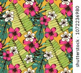seamless pattern with tropical... | Shutterstock .eps vector #1072236980