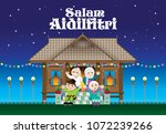 a muslim family celebrating... | Shutterstock .eps vector #1072239266
