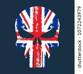skull with british flag... | Shutterstock .eps vector #1072243979