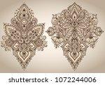 vector set of henna floral... | Shutterstock .eps vector #1072244006