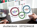 hand holding a paper showing... | Shutterstock . vector #1072244618