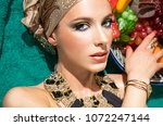 portrait of a luxury girl with... | Shutterstock . vector #1072247144