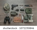set of military equipment on... | Shutterstock . vector #1072250846