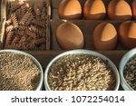 whole grain pasta and whole... | Shutterstock . vector #1072254014