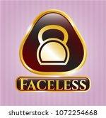 golden emblem with kettlebell... | Shutterstock .eps vector #1072254668