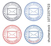 postal stamps with barcelona... | Shutterstock . vector #1072257923