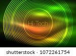circular glowing neon shapes ... | Shutterstock .eps vector #1072261754