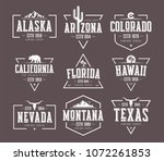 set of us states vintage vector ... | Shutterstock .eps vector #1072261853