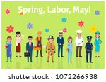 spring labor may with ten full... | Shutterstock .eps vector #1072266938