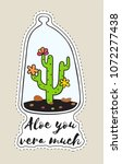 sticker with cactus in... | Shutterstock .eps vector #1072277438
