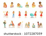 mom and ad take care of their... | Shutterstock .eps vector #1072287059