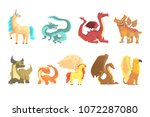 mythological animals  set for... | Shutterstock .eps vector #1072287080